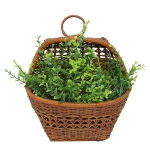 Brown Wicker Woven Hanging Basket